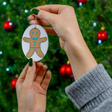 Fancy Gingerbread Boy Oval Ceramic Ornament