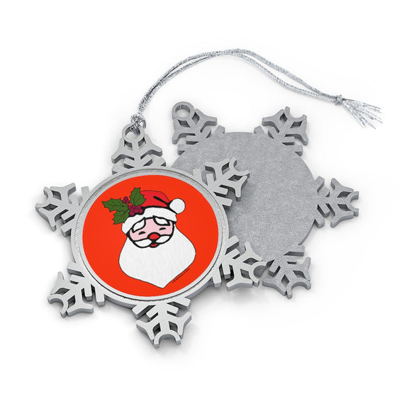 Santa with Holly Sprig Pewter Snowflake Ornament