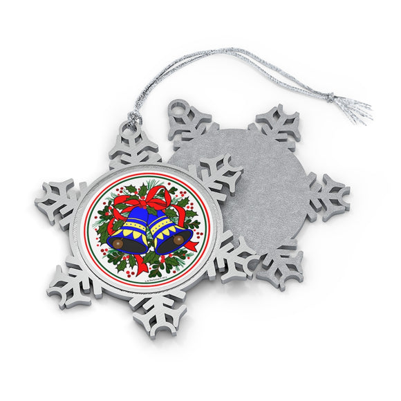 Holiday Bells Pewter Snowflake Ornament