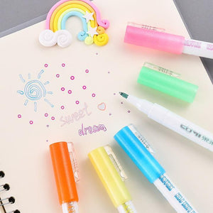Gift Card Writing&Drawing Double Line Outline Pen, 8 Colors