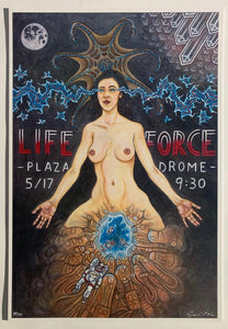 Poster for the Plazadrome screening of Lifeforce (1985), dir. Tobe Hooper