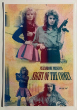 Load image into Gallery viewer, Poster for the Plazadrome screening of Night of the Comet (1984), dir. Thom Eberhardt. Art by Hannah Adair (hannahadair.com)