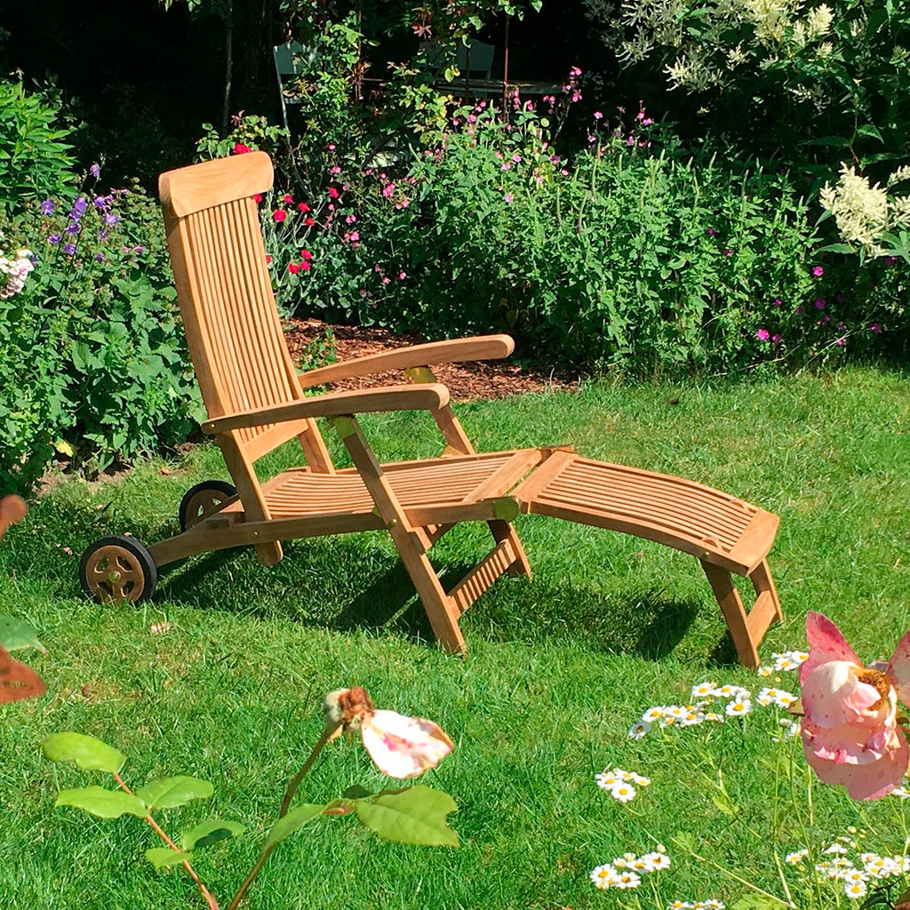 Teak Deckchair Martinique mit Rollen