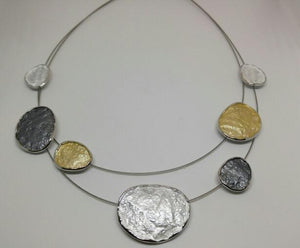 Smoky Grey and Gold Double-Stranded Necklace
