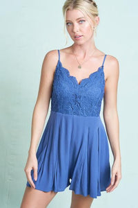 Cobalt Blue Crochet Romper With Pockets