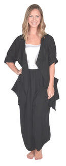 Catherine Lilywhite Black Drape Collar Linen Jacket