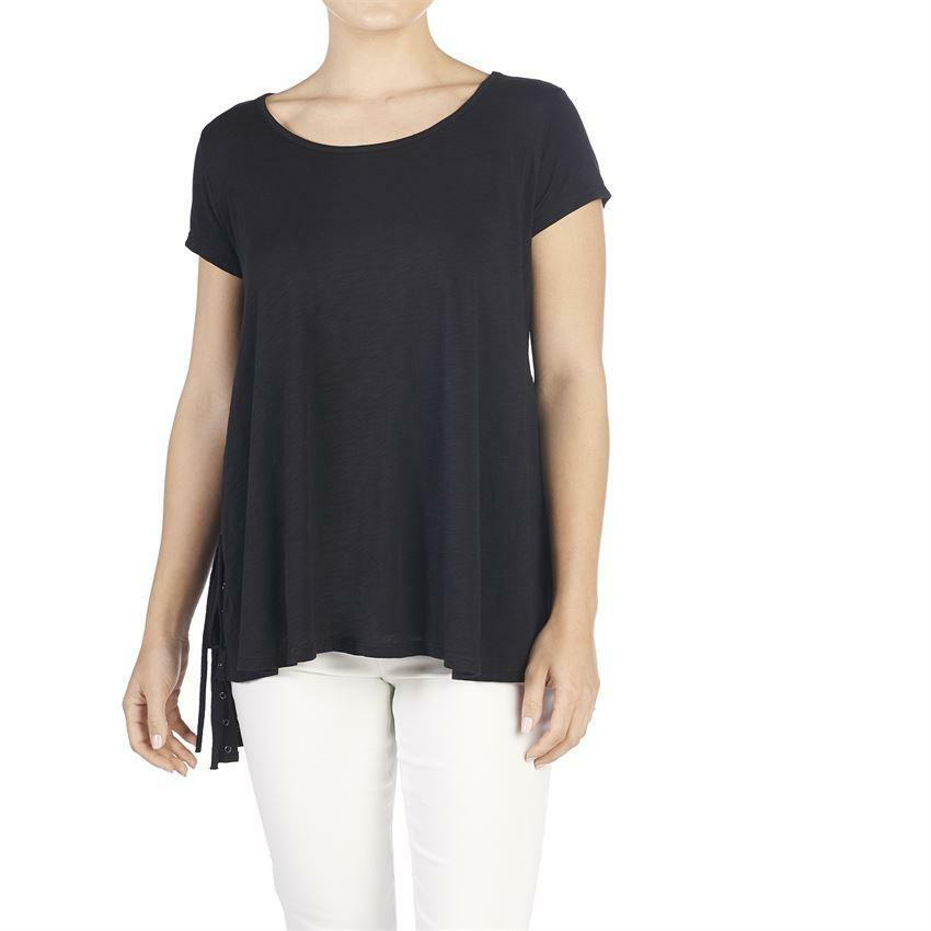 Coco & Carmen Black Lace Up Side Tee