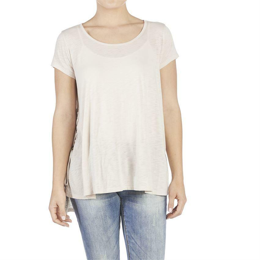 Coco & Carmen Tan Lace Up Side Tee