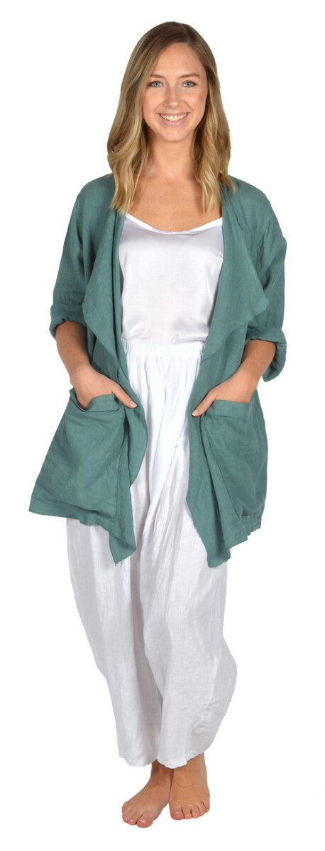 Catherine Lilywhite Green Drape Collar Jacket