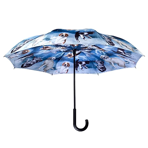Raining Cats & Dogs Stick Umbrella Reverse Close