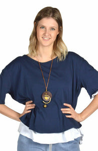 Navy Catherine Lilywhite Open Back Tunic w/ Necklace