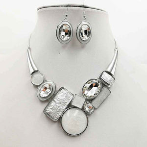 SivArt Designs Grey/Ivory Necklace and Earrings Set