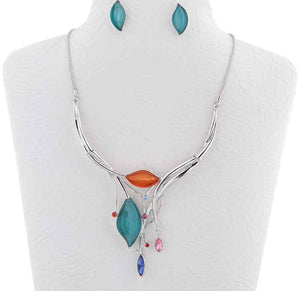 SivArt Designs Multi-Color Leaf Necklace and Earrings Set