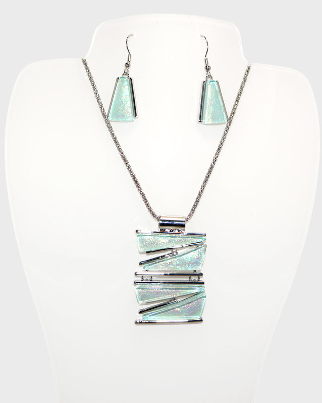 Stacked Triangles Necklace & Earrings Set