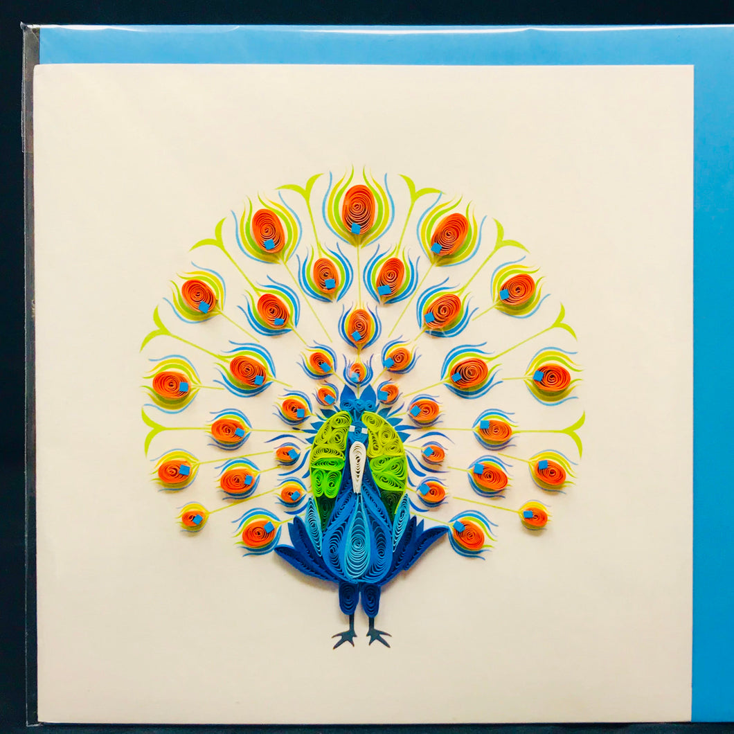Peacock Quilled Card