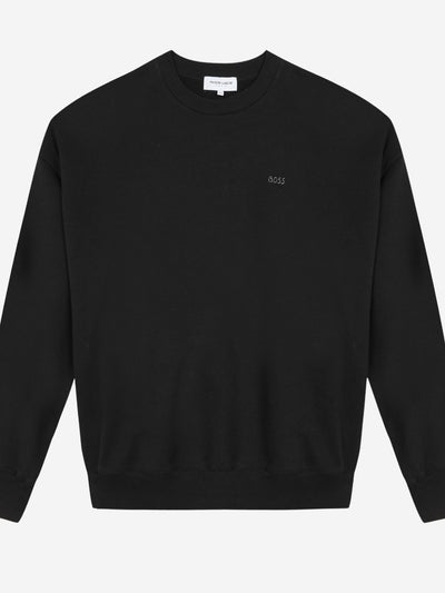 Black Cotton Sweatshirt with Embroidery #color_black