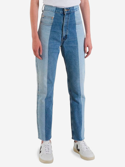 Light Blue/Mid Blue Contrast Straight Leg Jeans