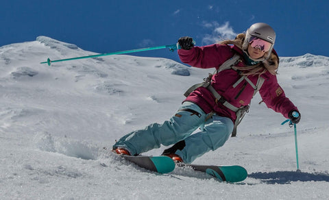 Team Opus Member Annika Heatley Skiing on Mt Ruapehu New Zealand supported by Opus Fresh Apparel Co