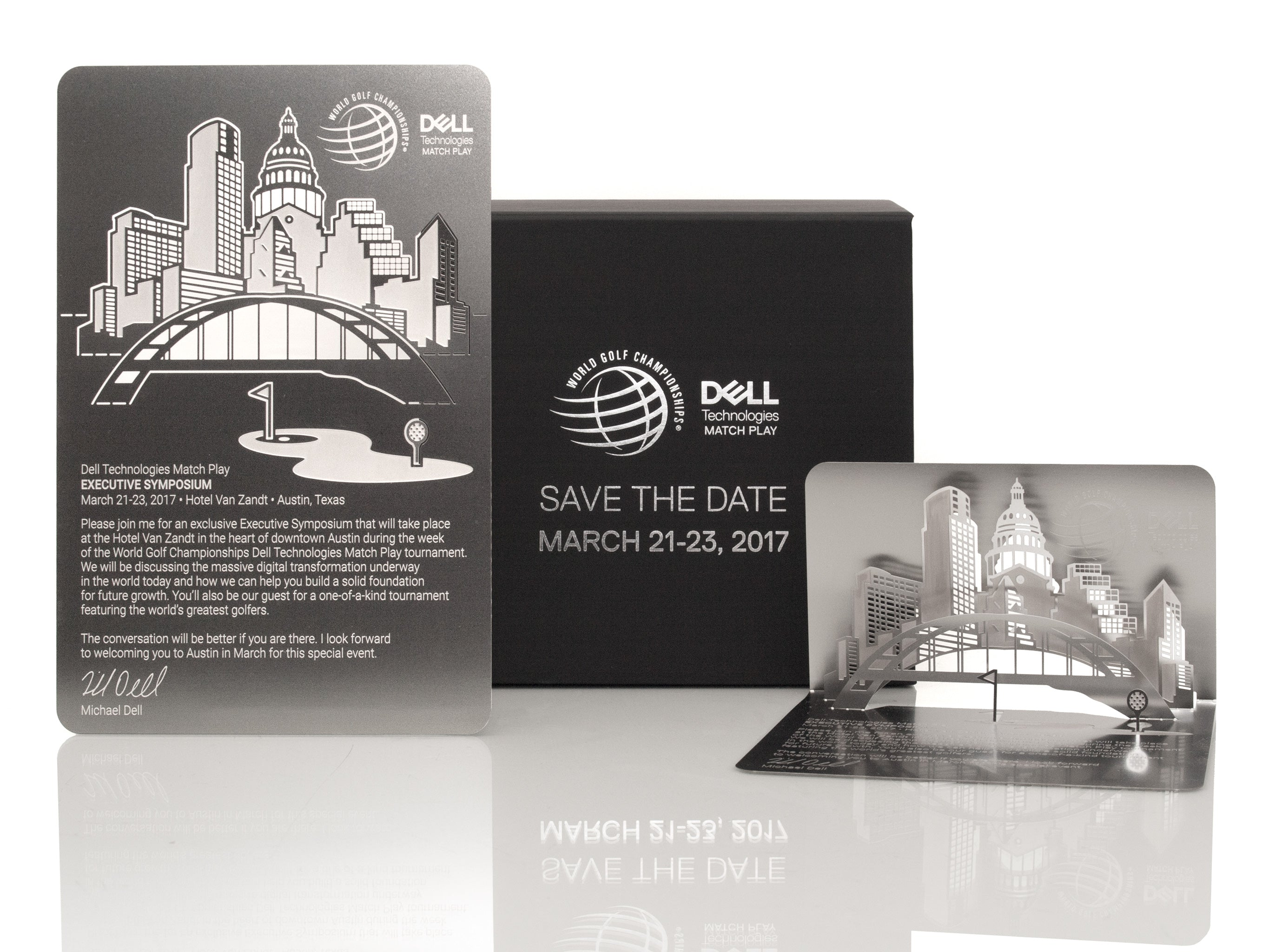 Dell Matchplay Folded Metal Corporate Invitation In Box Ensemble