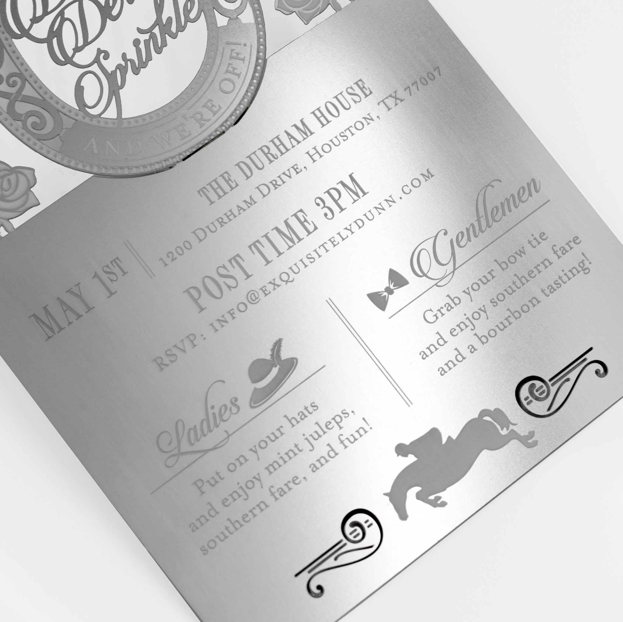Dunn Derby Themed Metal Baby Shower Invitation Bottom Detail1