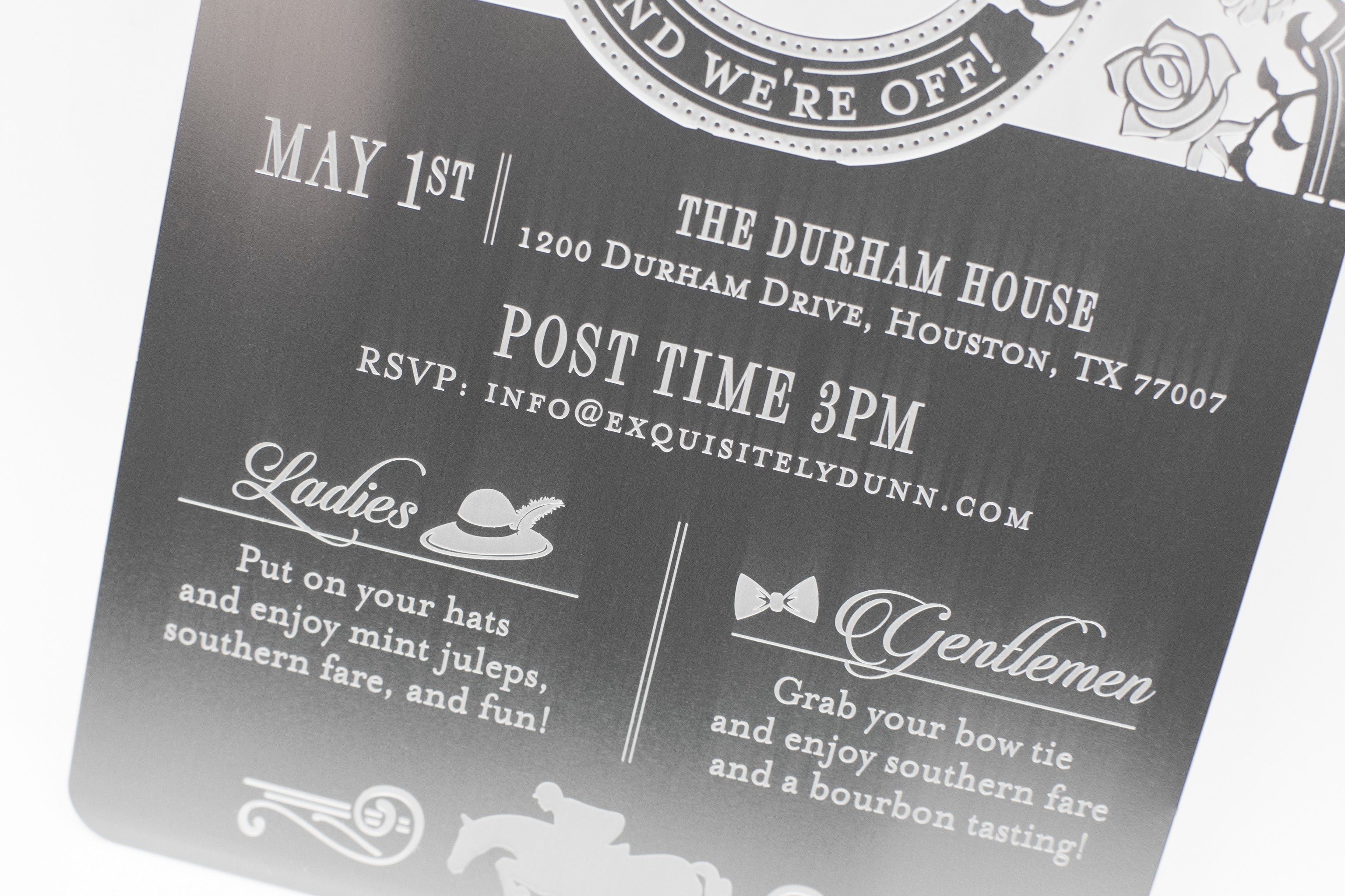 Dunn Derby Themed Metal Baby Shower Invitation Bottom Detail2