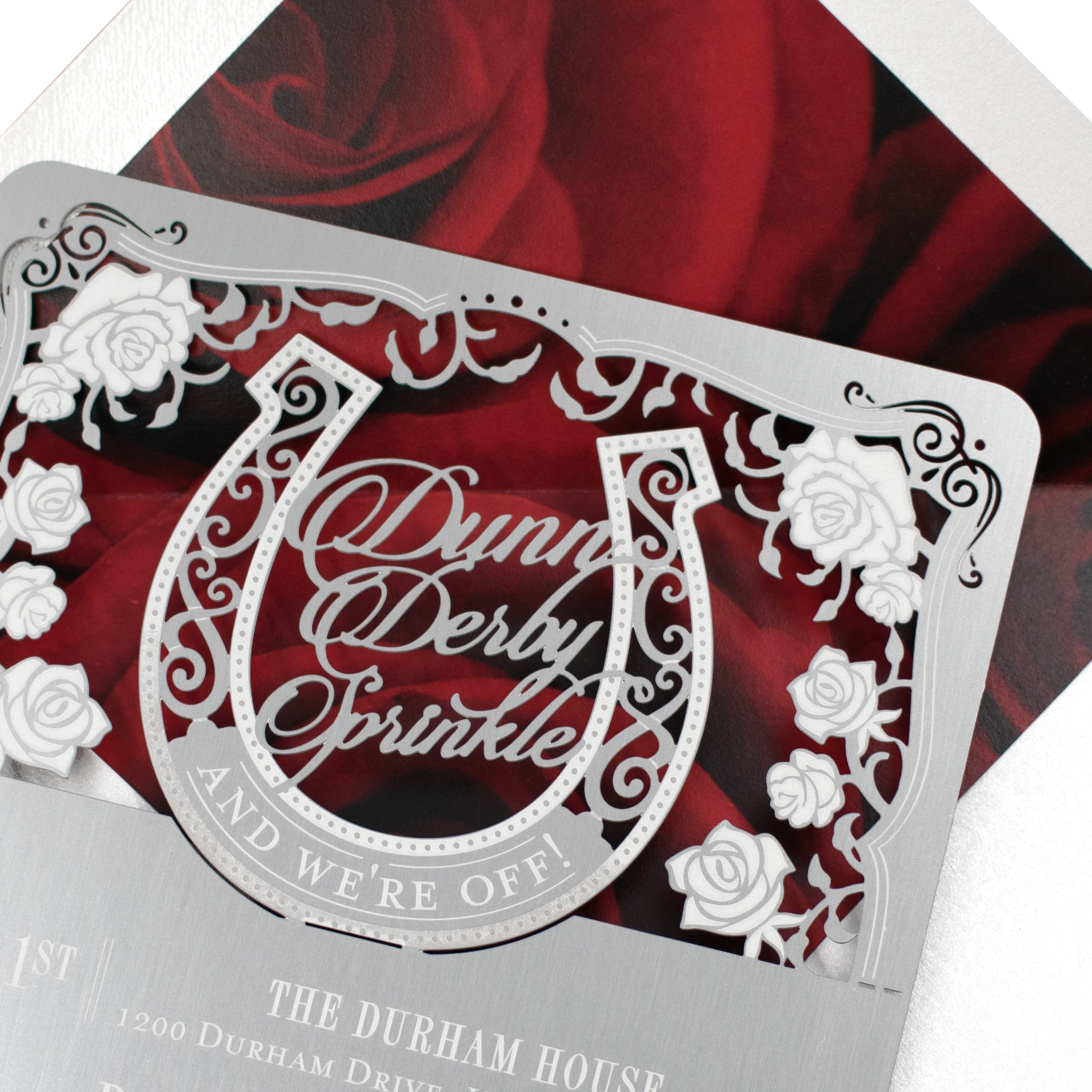 Dunn Derby Themed Metal Baby Shower Invitation Envelope Detail1