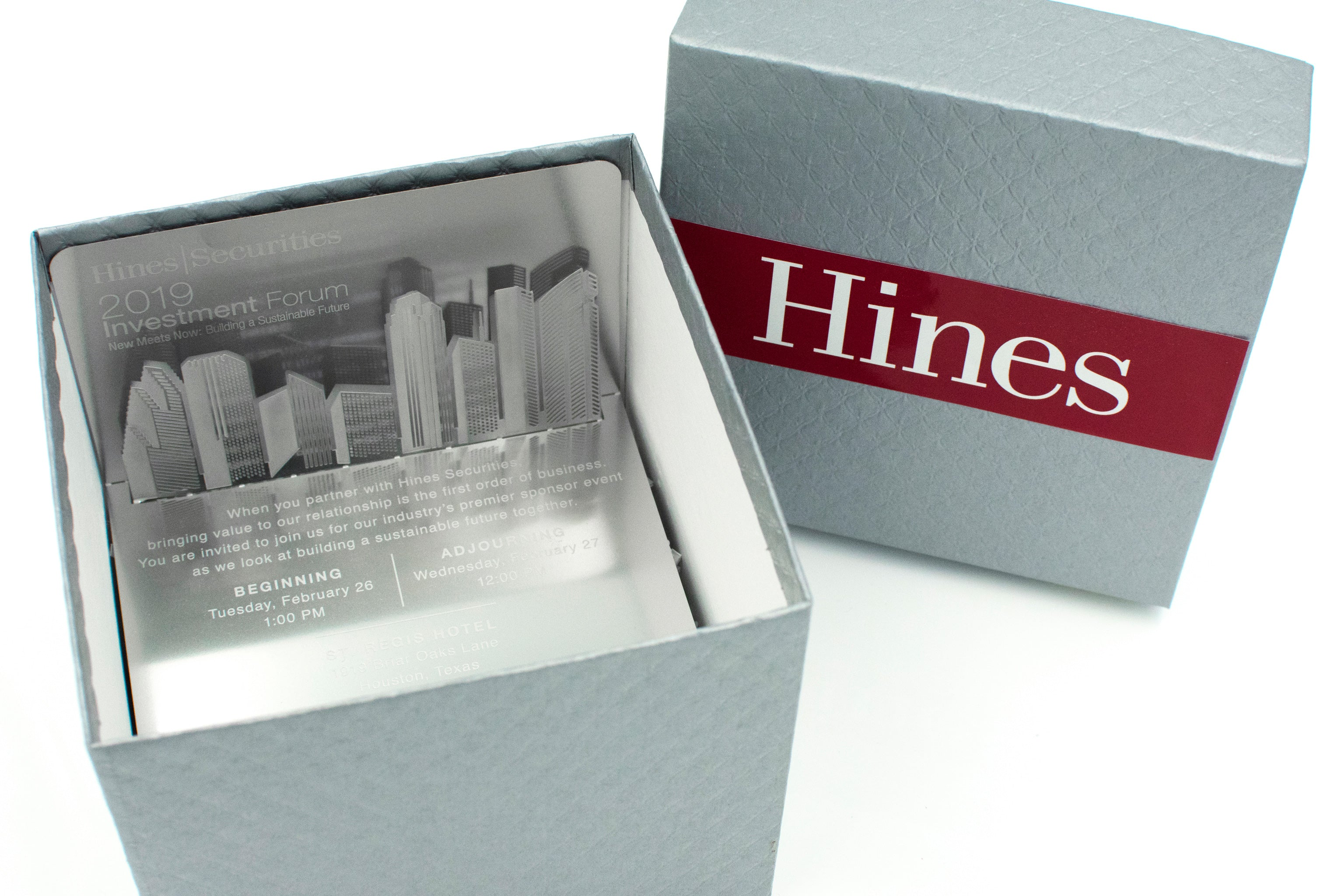 Hines Metal Invitation In Box Houston Buildings in Box