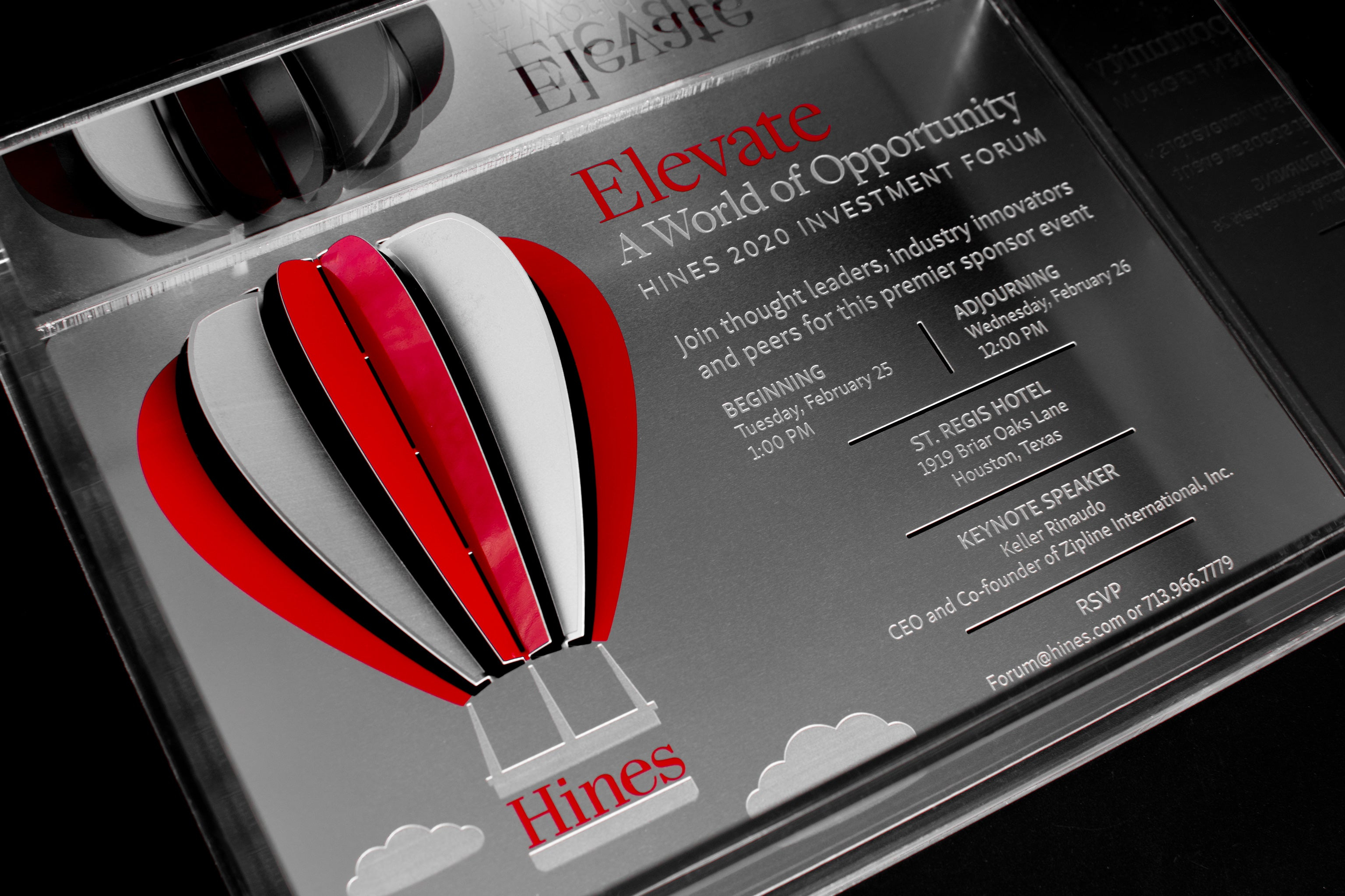Hines Metal Invitation With Hot Air Balloon In Acrylic Box Invitation Detail1