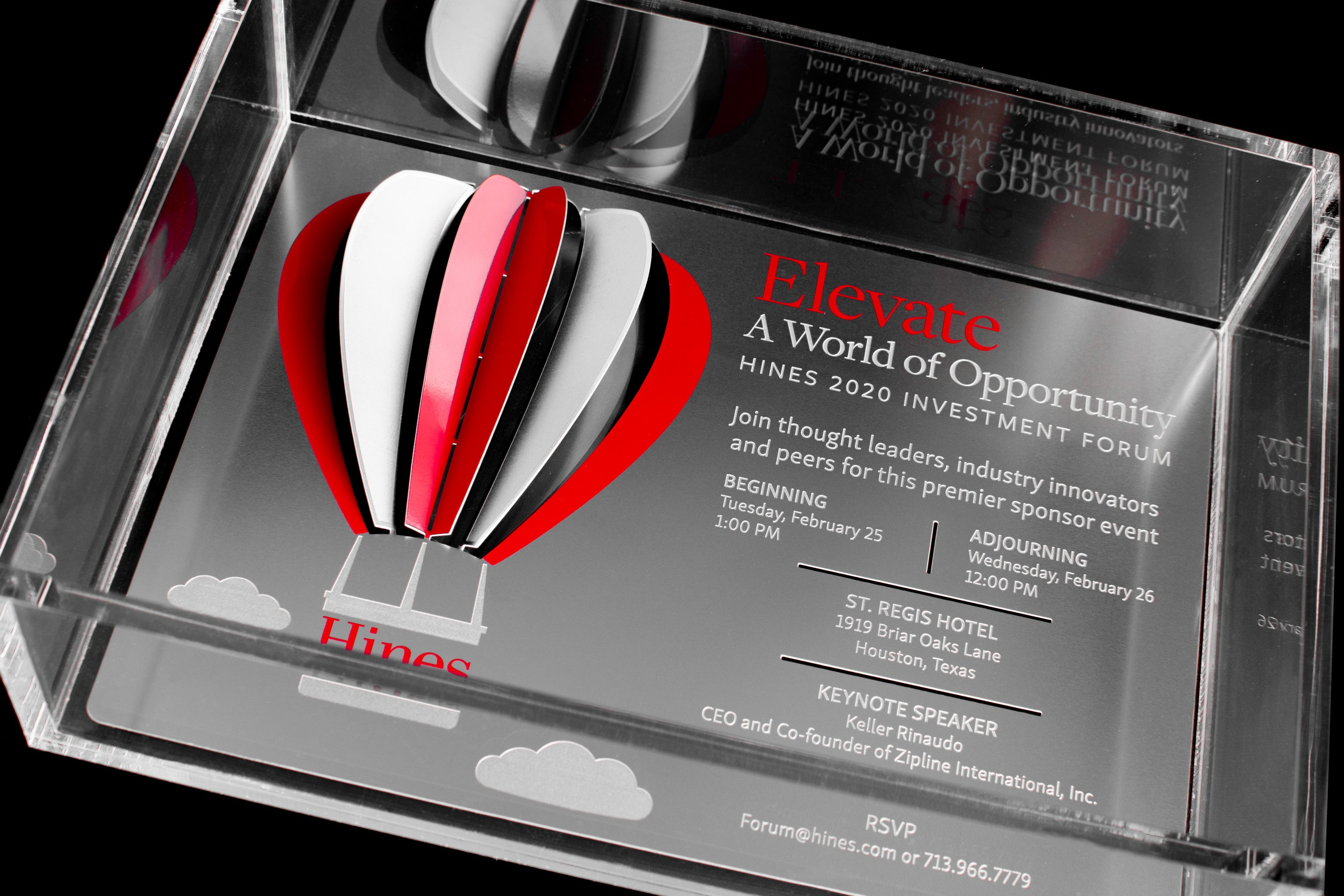 Hines Metal Invitation With Hot Air Balloon In Acrylic Box Invitation Detail2