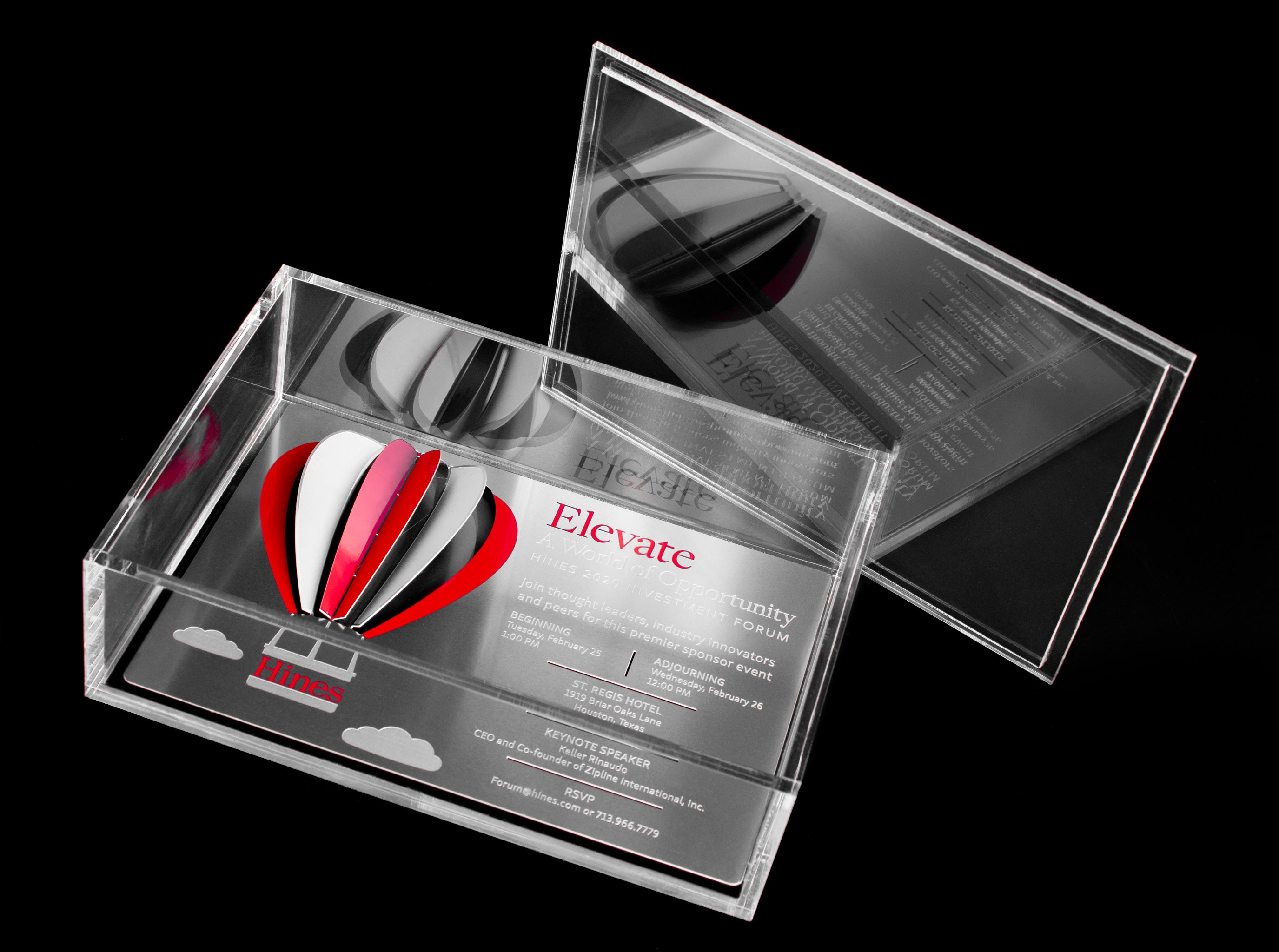 Hines Metal Invitation With Hot Air Balloon In Acrylic Box Invitation1