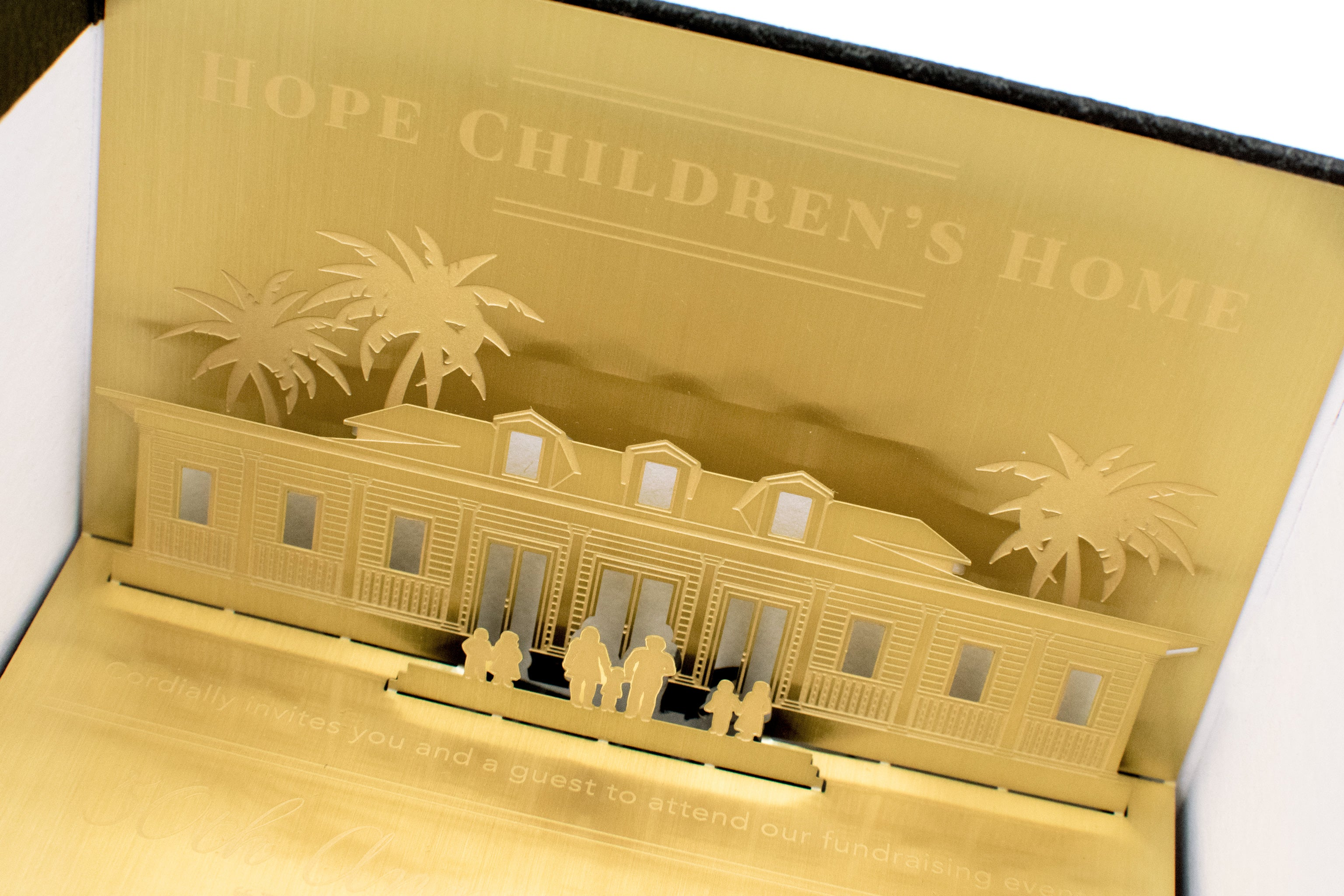Hope Childrens Home Folded Gold Metal Fundraiser Invitation In Box4
