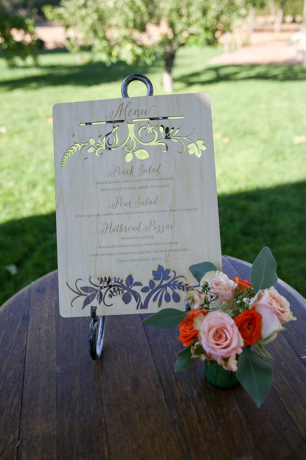 Laser Cut Wood Wedding Menu Sign5