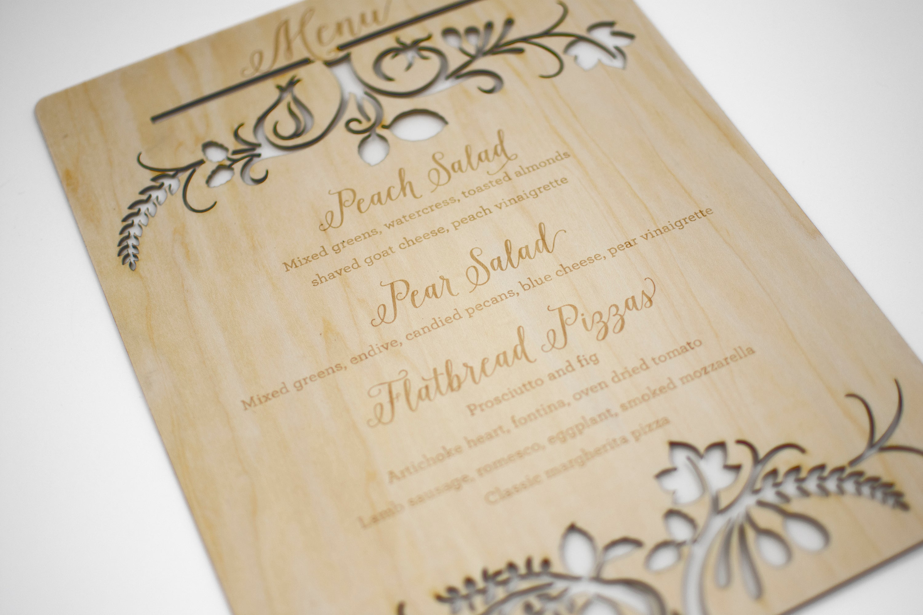 Laser Cut Wood Wedding Menu Sign Detail1