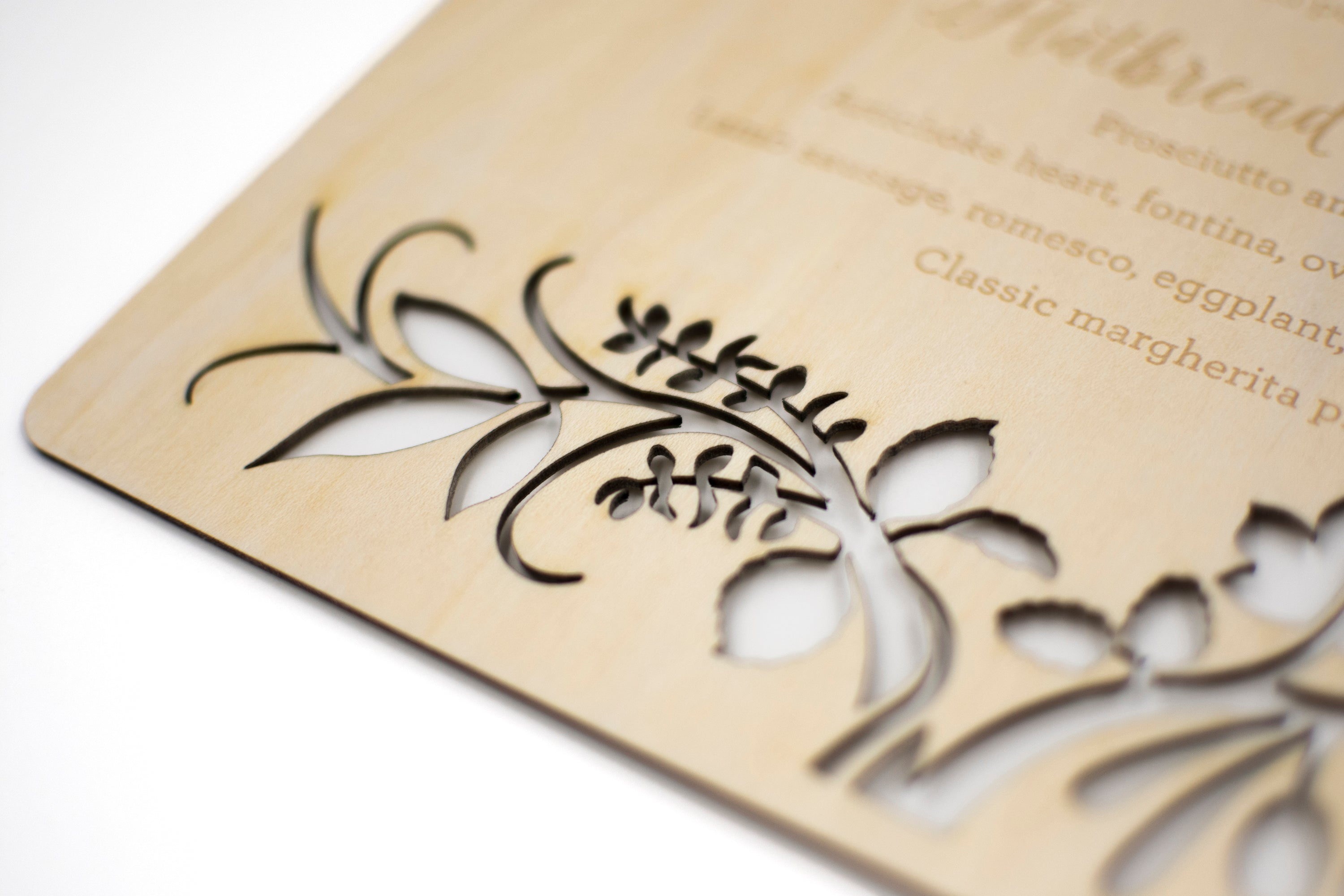 Laser Cut Wood Wedding Menu Sign Detail2