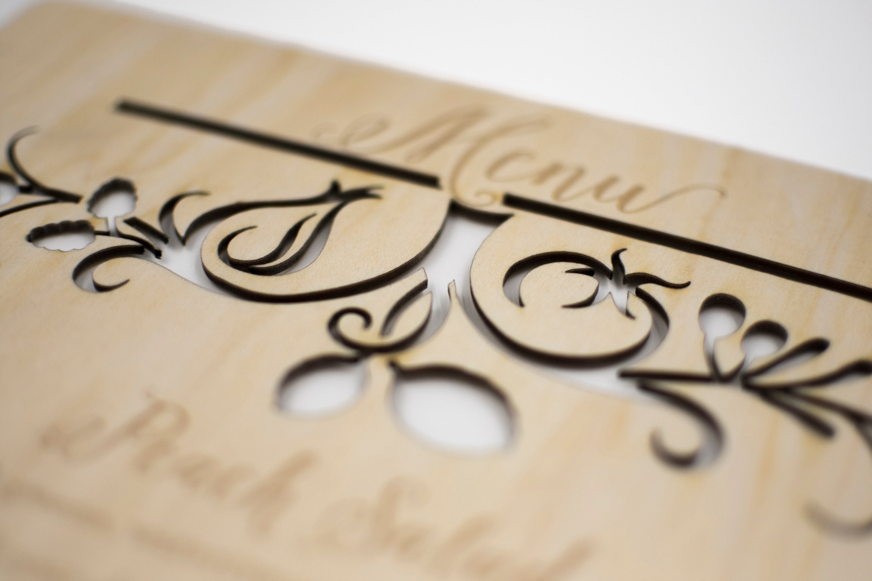 Laser Cut Wood Wedding Menu Sign Detail3
