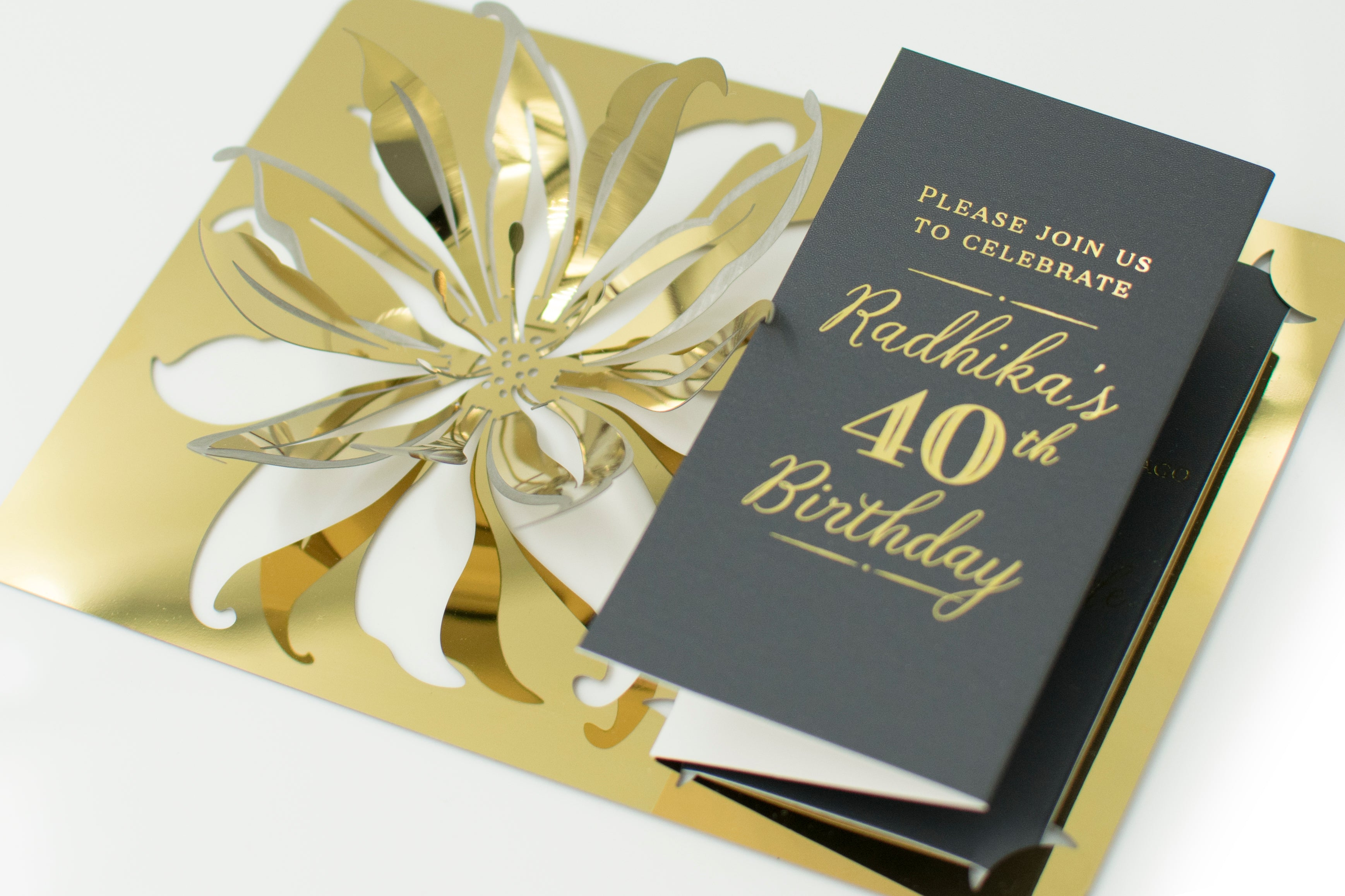 Mathur Gold Metal Lily Folding Birthday Invitation2