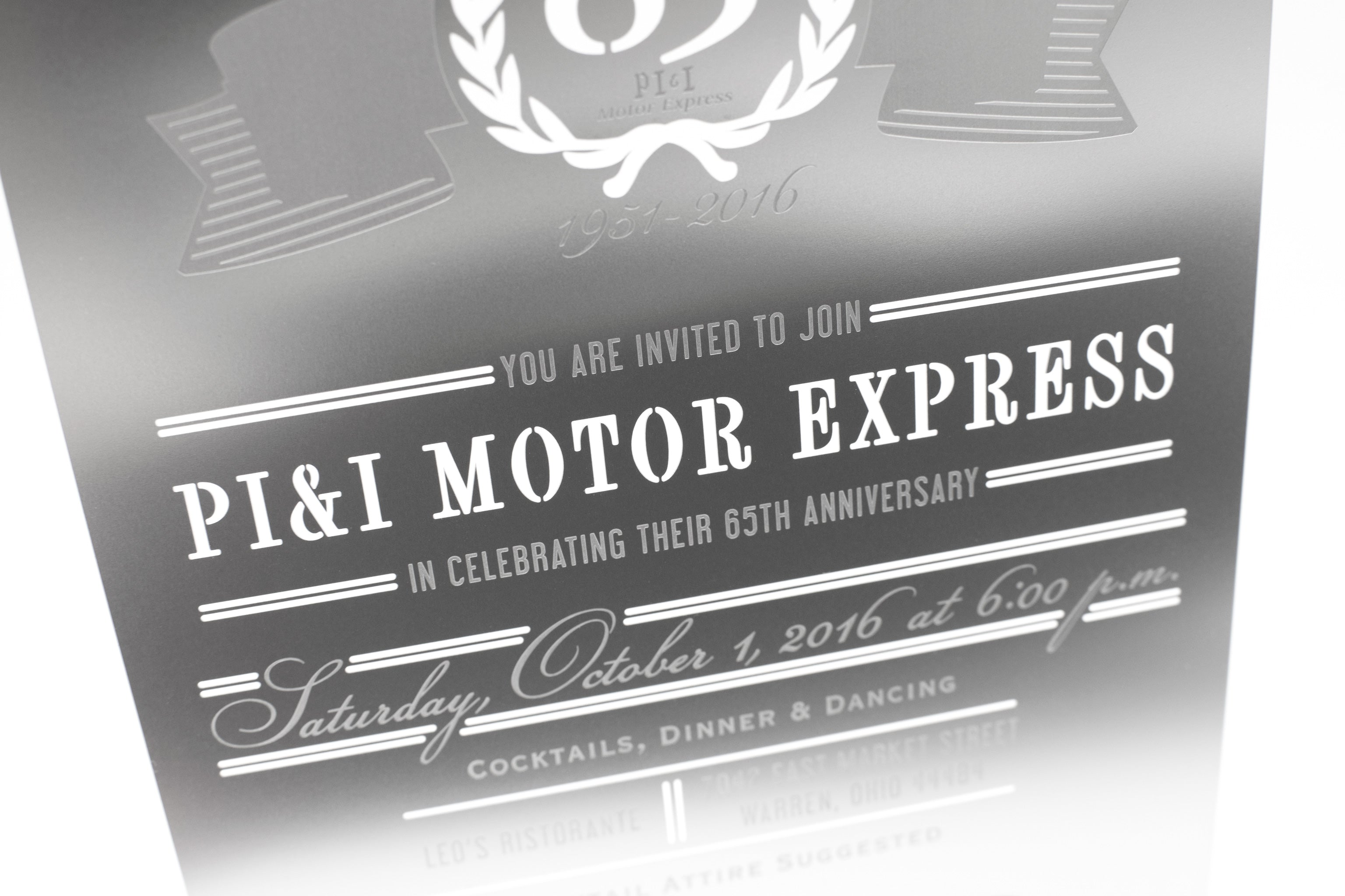 PII Silver Metal Corporate Anniversary Invitation Detail
