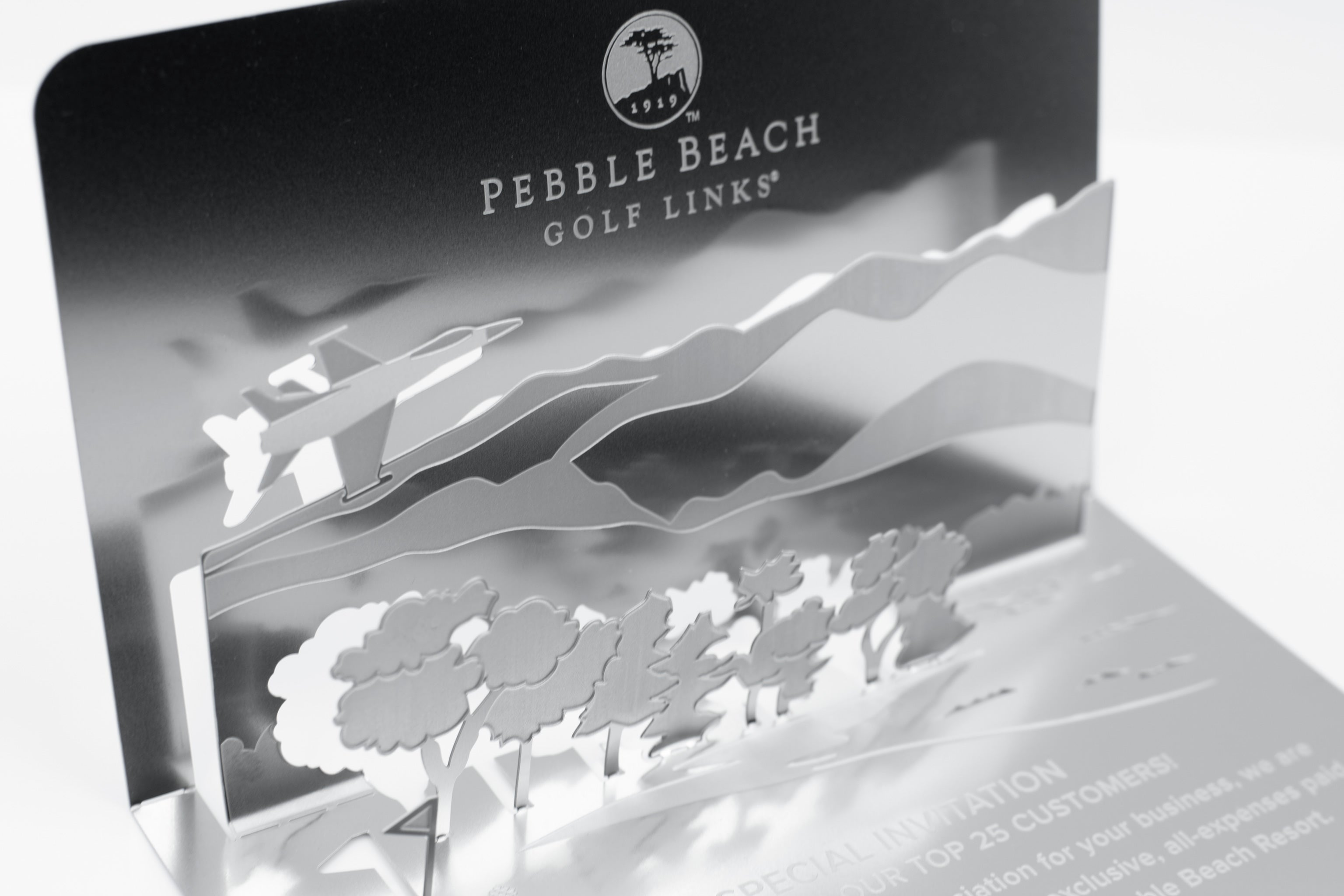 Pebble Beach Golf Metal Invitation Folded Detail1