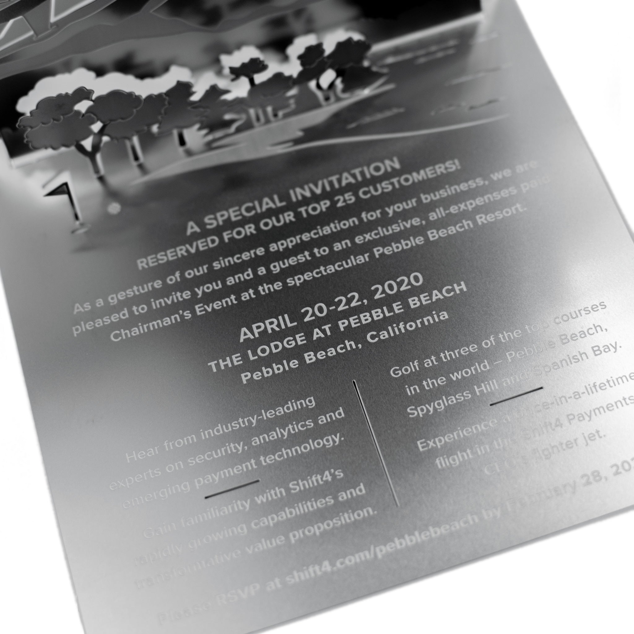 Pebble Beach Golf Metal Invitation Folded Detail4