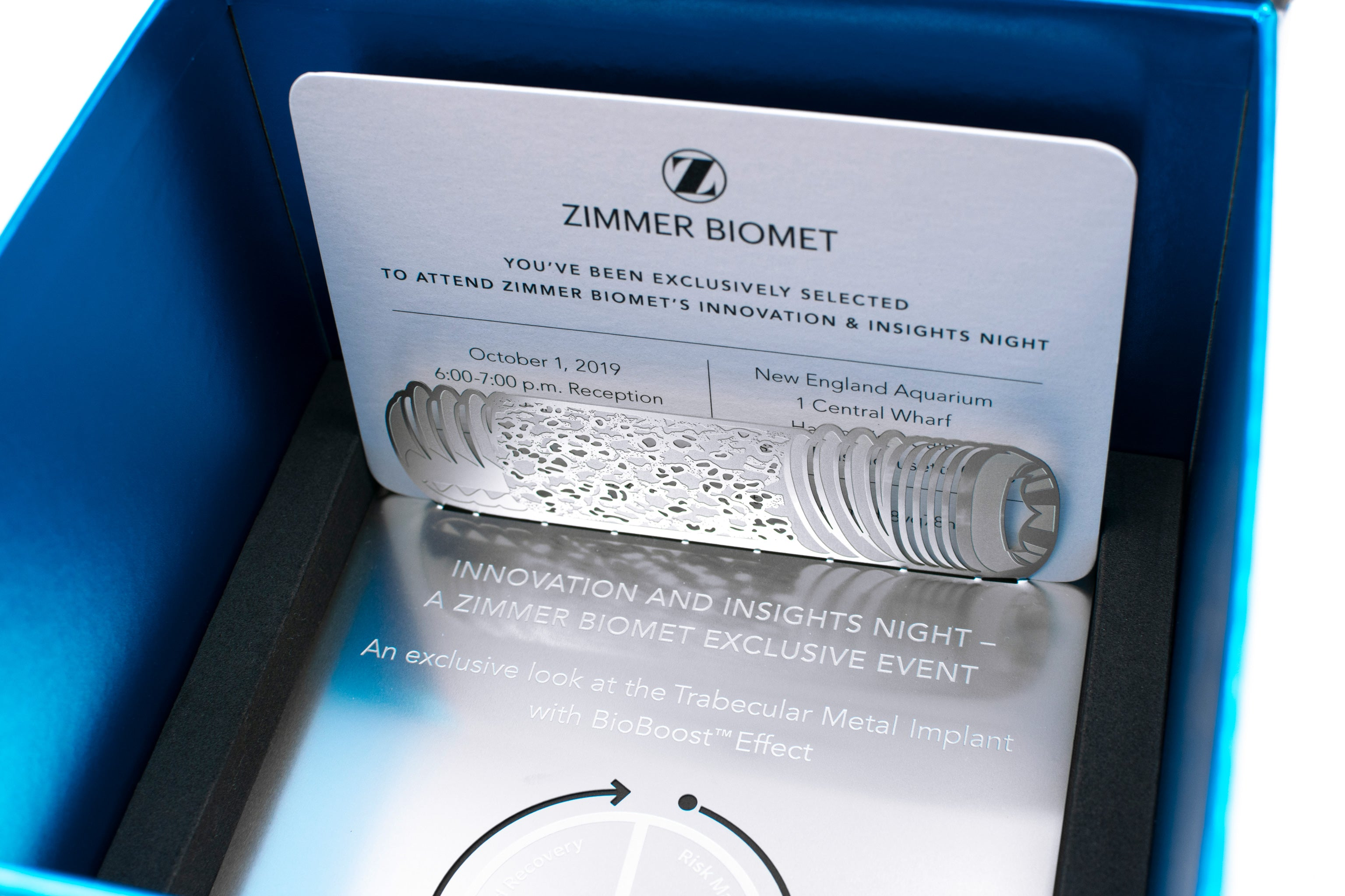 Zimmer Biomet Metal Corporate Invitation In Custom Box Inside With Card1