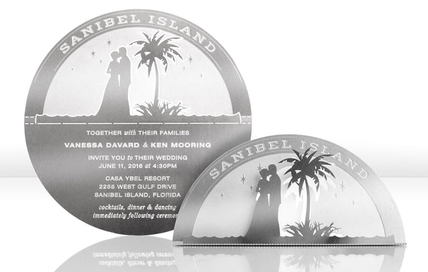 Beach Moonrise Metal Invitation