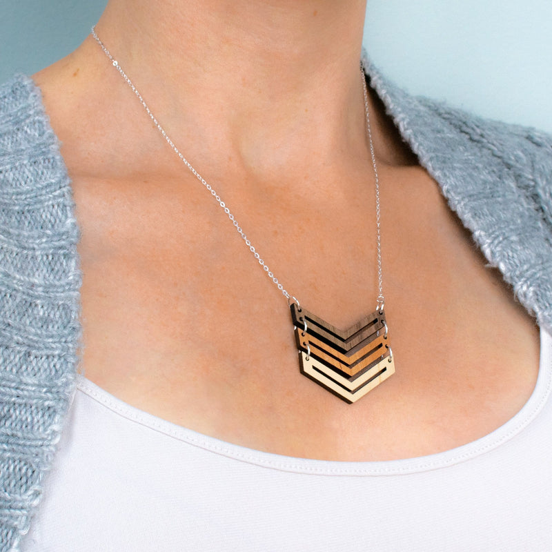 Chevron Three-Tone Hardwood and Silver Necklace