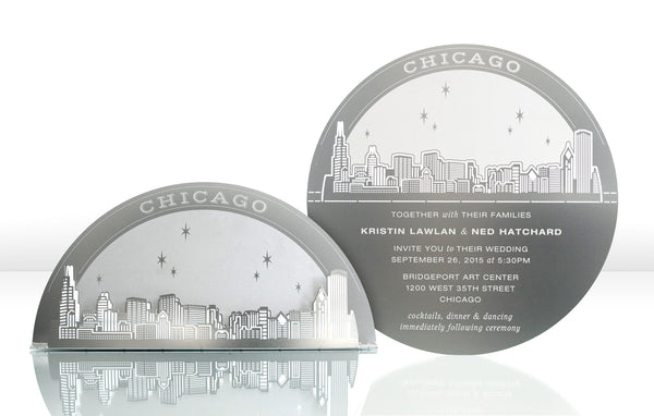 Chicago Skyline Metal Invitation