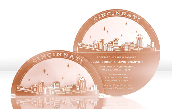 Cincinnati Skyline Metal Invitation