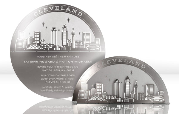 Cleveland Skyline Metal Invitation