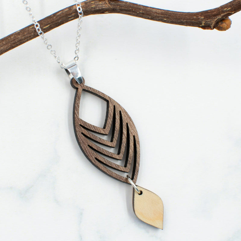 Curved Chevron Two-Tone Hardwood and Silver Necklace
