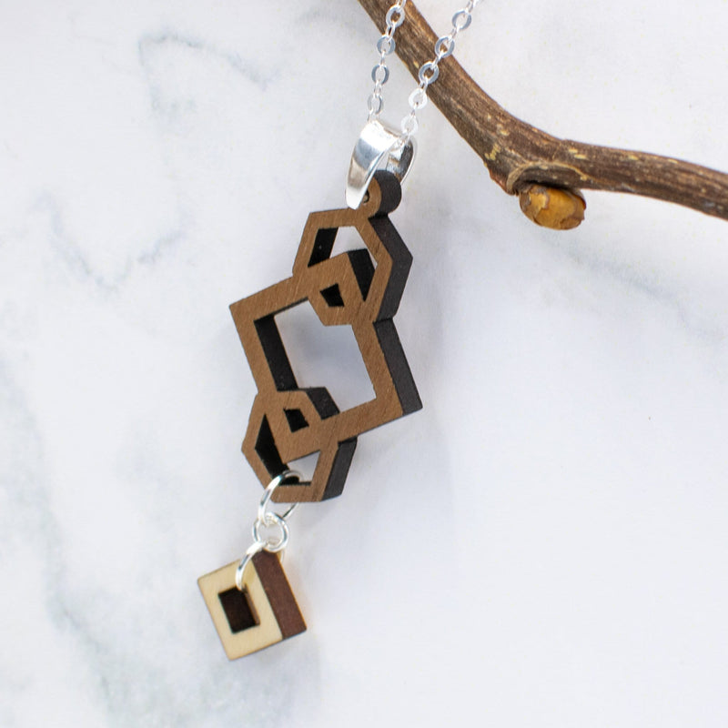 Geometric Two-Tone Hardwood and Silver Necklace