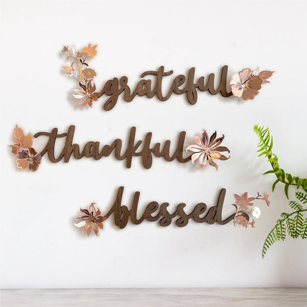 """Grateful Thankful Blessed"" Wood and Metal Word Art"