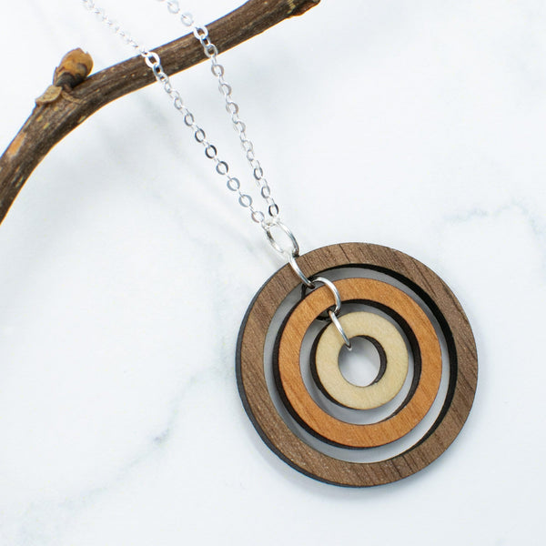 Gyroscope Circles Three-Tone Hardwood and Silver Necklace