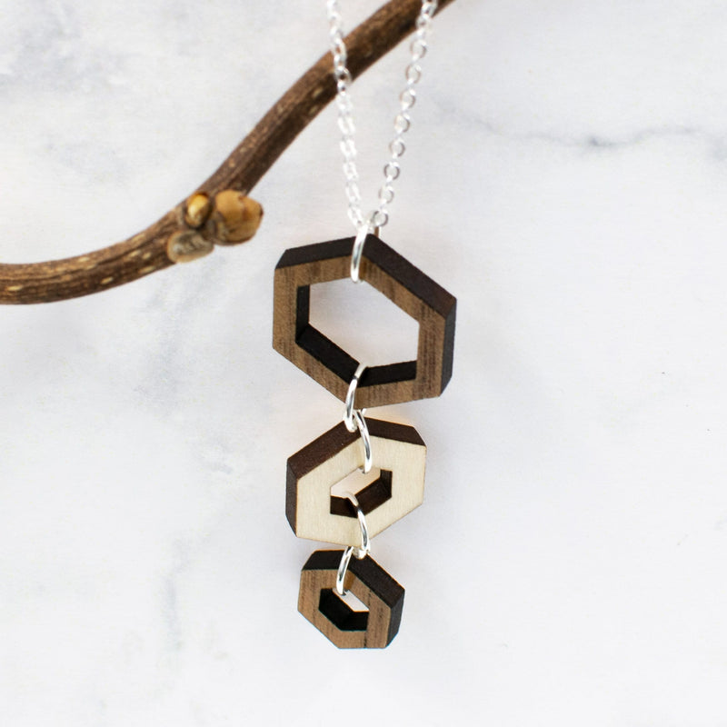 Hexagon Two-Tone Hardwood and Silver Necklace